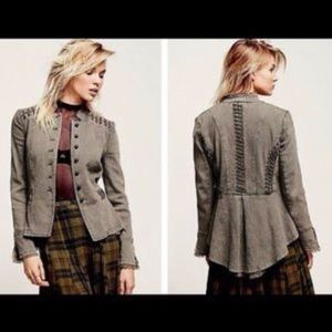 Free People Victorian Lace Military Jacket XS